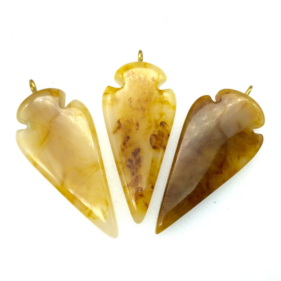 25mm x 53mm Semi-Transparent Beige/Brown Thick Arrow Shaped Resin Pendant with One Ring- Sold Individually
