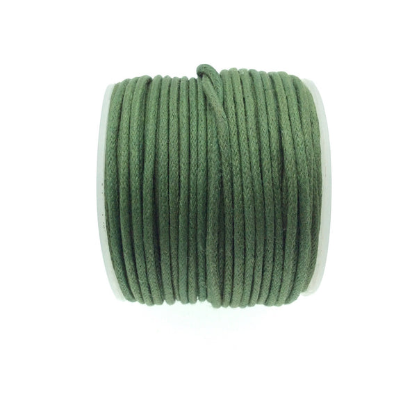 FULL SPOOL - Army Green Beadlanta Waxed Cotton Cord - Measuring 1.5mm - 27 yards per spool - Round Cotton Jewelry Cord