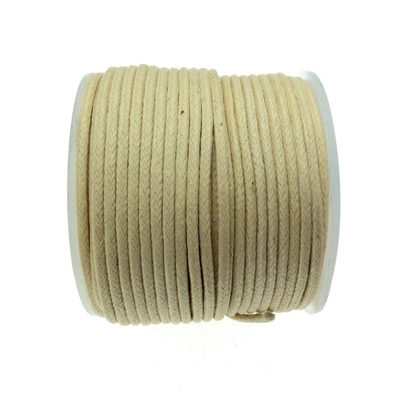 FULL SPOOL - Cream Beadlanta Waxed Cotton Cord - Measuring 1.5mm - 27 yards per spool - Round Cotton Jewelry Cord