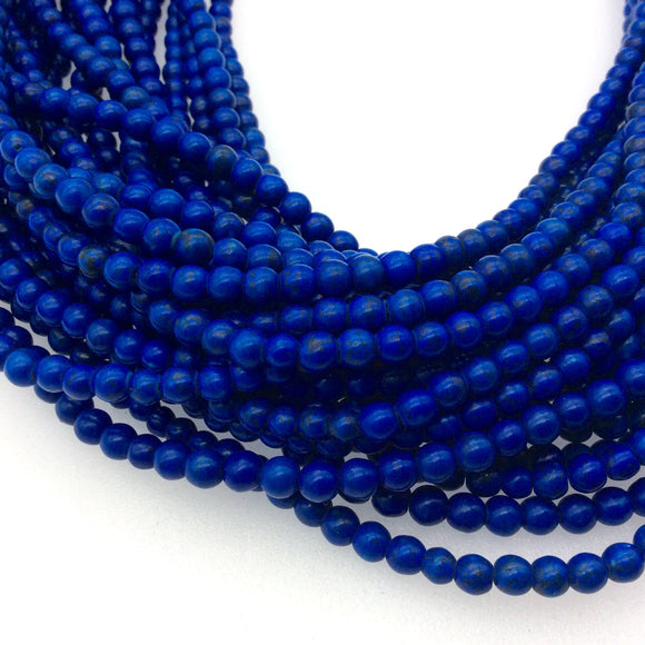 4.5mm Dyed Blue Howlite Smooth Round/Ball Shaped Beads - Sold by 16
