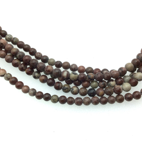 4mm Glossy Natural Owyhee Jasper Round/Ball Shaped Beads with 1mm Holes - Sold by 16