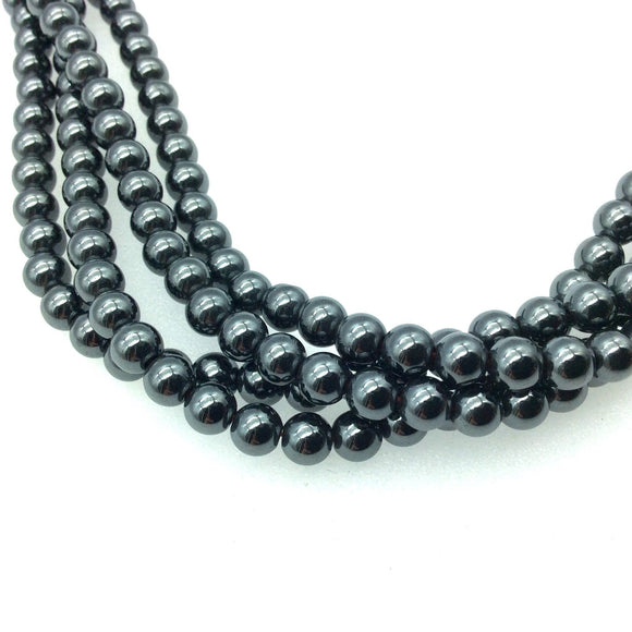 5mm Glossy Finish Natural Smoot Hematite Round/Ball Shaped Beads with 1mm Holes - Sold by 16