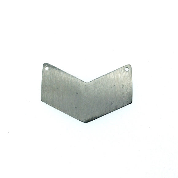 32mm x 22mm Gunmetal Brushed Finish Blank Chevron Shaped Plated Copper Components (Double Drilled) - Sold in Packs of 10 Pieces - (461-GD)
