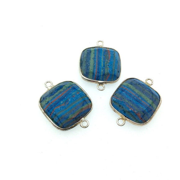 Jeweler's Lot OOAK Silver Plated Faux Fordite Faceted Assorted Copper Bezel Pendants/Connectors 20mm x 20mm, Approx.