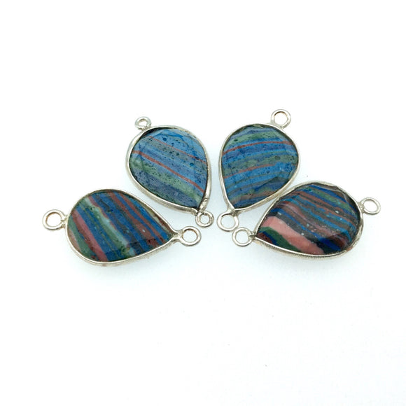 Jeweler's Lot OOAK Silver Plated Faux Fordite Faceted Assorted Copper Bezel Pendants/Connectors 15mm x 20mm, Approx.