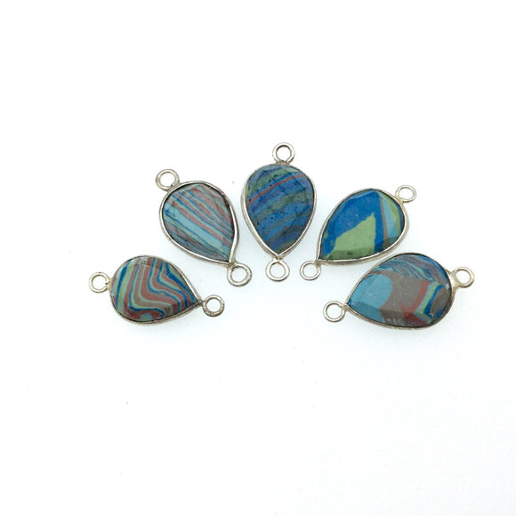 Jeweler's Lot OOAK Silver Plated Faux Fordite Faceted Assorted Copper Bezel Pendants/Connectors 13mm x 18mm, Approx.