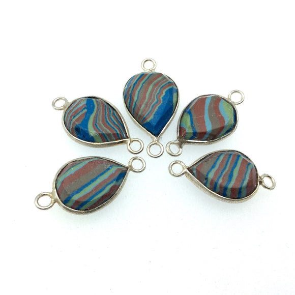 Jeweler's Lot OOAK Silver Plated Faux Fordite Faceted Assorted Copper Bezel Pendants/Connectors 12mm x 16mm, Approx.