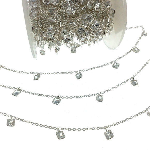 Sterling Silver Bezel Dangle Rosary Chain with 4mm Cut Stone Flat Back Cubic Zirconia Square Dangles - Sold by the Foot