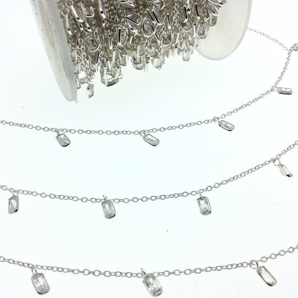 Sterling Silver Bezel Dangle Rosary Chain with 4mm Cut Stone Flat Back Cubic Zirconia Rectangle Dangles - Sold by the Foot