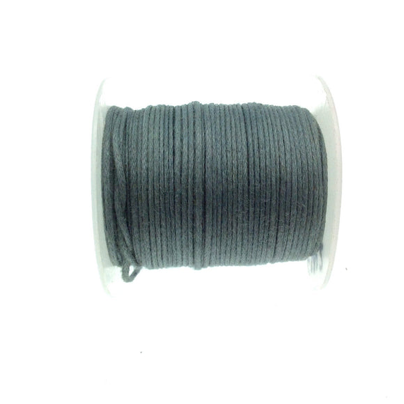 FULL SPOOL - Light Gray Beadlanta Waxed Cotton Cord - Measuring .5mm - 27 yards per spool - Round Cotton Jewelry Cord