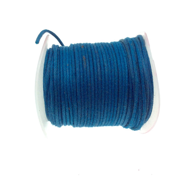FULL SPOOL - Denim Blue Beadlanta Waxed Cotton Cord - Measuring .5mm - 27 yards per spool - Round Cotton Jewelry Cord