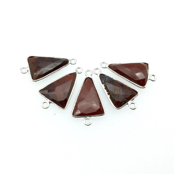 Silver Finish Faceted Red Jasper Triangle Shaped Bezel Connector Component - Measuring 12mm x 16mm - Natural Semi-precious Gemstone