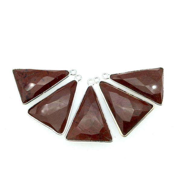 Silver Finish Faceted Red Jasper Triangle Shaped Bezel Pendant Component - Measuring 18mm x 25mm - Natural Semi-precious Gemstone