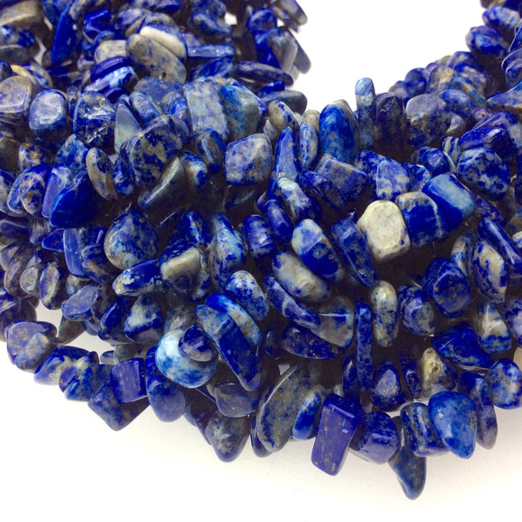 Natural Lapis Lazuli Angular Nugget/Chip Beads with 1mm Holes - Sold by 34