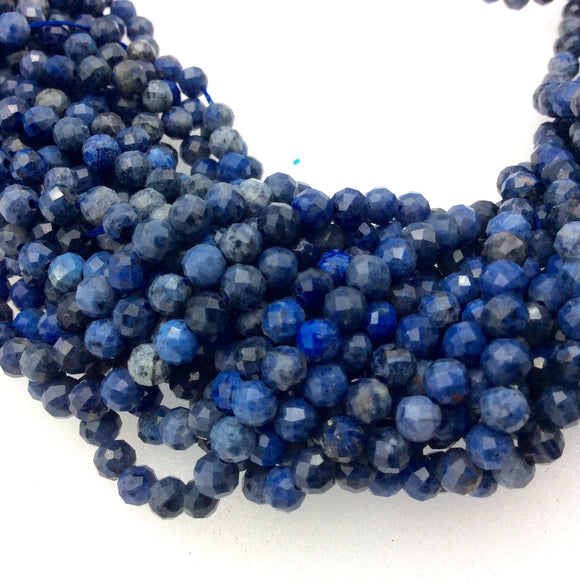 4mm Faceted Natural Mixed Blue Dumortierite Round/Ball Shaped Beads with 1mm Holes - Sold by 15.5