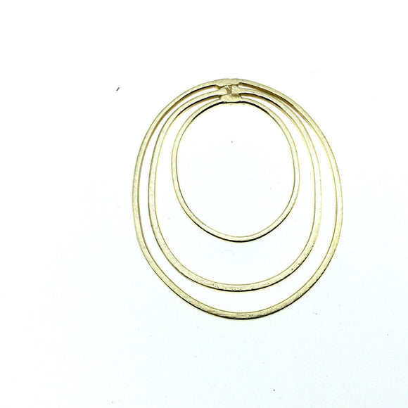 42mm x 52mm Soft Gold Open Oval with Two Inner Ovals Shaped Plated Copper Components - Sold in Packs of 4 Pieces