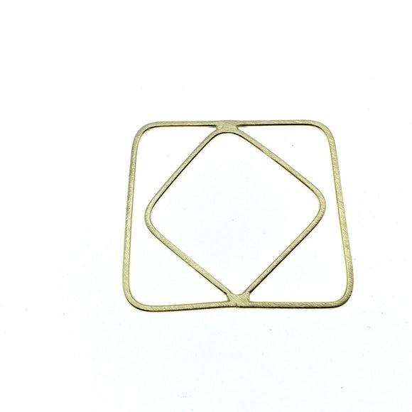42mm x 42mm Soft Gold Finish Open Triangle with Inner Diamond Shaped Plated Copper Components - Sold in Packs of 4 Pieces