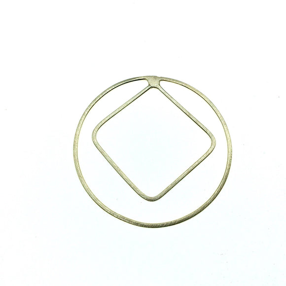 48mm Soft Gold Finish Open Circle with 40mm Open Inner Diamond Shaped Plated Copper Components - Sold in Packs of 4 Pieces