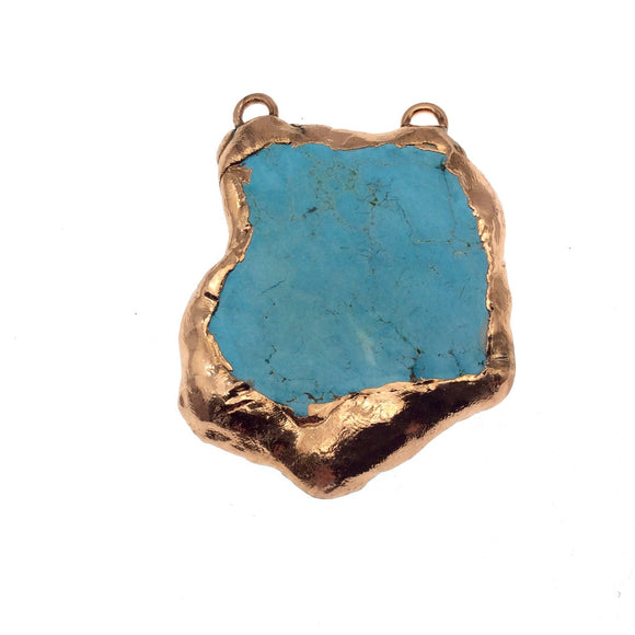 OOAK Rose Gold Electroplated Stabilized Freeform Shaped Two Loop Pendant 017 ~ 57mm x 42mm Chinese Turquoise Bezel Sold  As Pictured