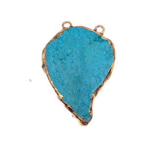 "OOAK Rose Gold Electroplated Stabilized Chinese Turquoise Freeform Shaped Two Loop Pendant ""018"" ~ 50mm x 70mm - Sold  As Pictured"