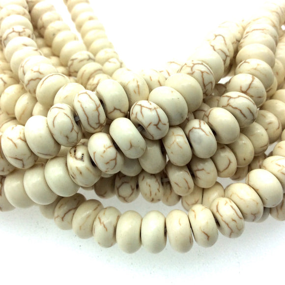 6mm x 10mm Ivory Brown Veined Howlite Smooth Finish Rondelle Shaped Beads with 1mm Holes - 14.5