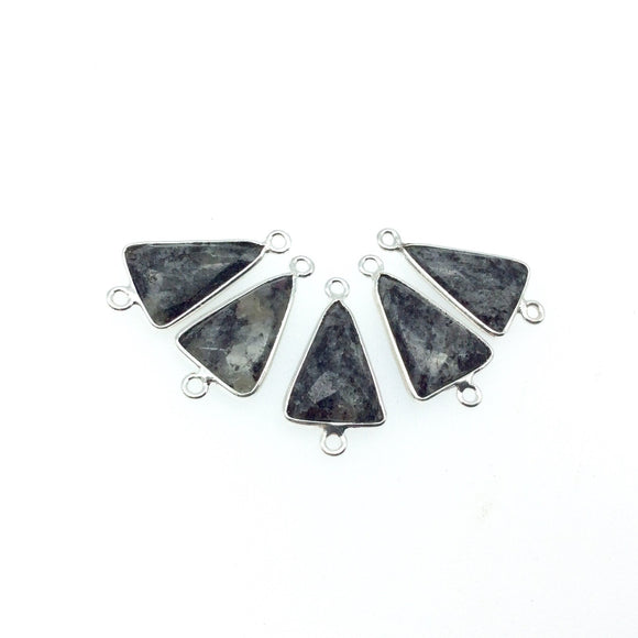 Silver Finish Faceted Black Feldspar Triangle Shaped Bezel Connector Component - Measuring 12mm x 16mm - Natural Semi-precious Gemstone