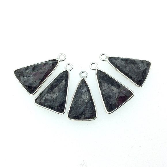 Silver Finish Faceted Black Feldspar Triangle Shaped Bezel Pendant Component - Measuring 12mm x 16mm - Natural Semi-precious Gemstone