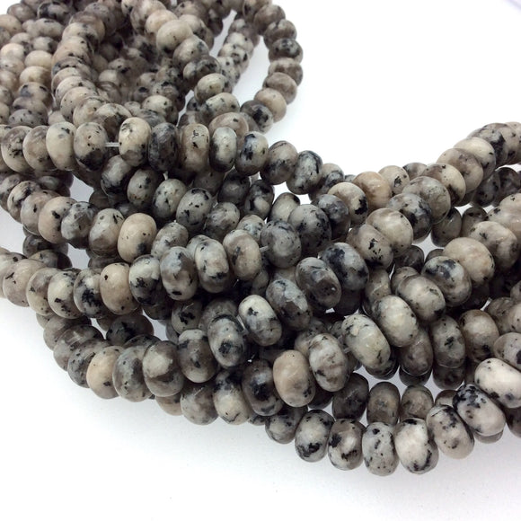 5mm x 8mm Smooth Dyed Mottled Gray Jade Rondelle Shaped Beads with 1mm Holes - Sold by 15.5