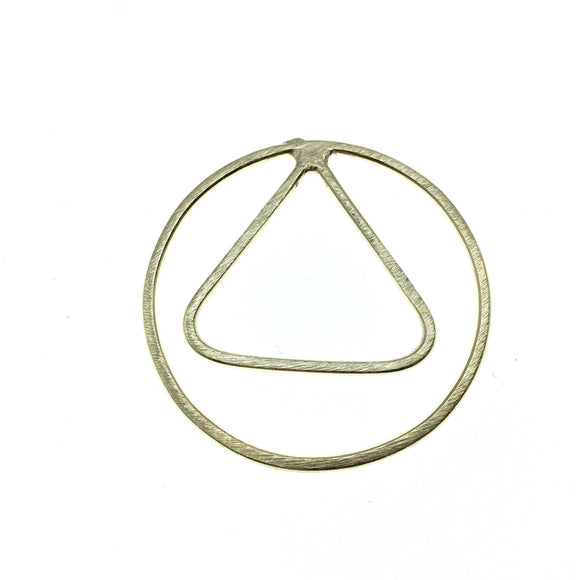 36mm x 36mm Soft Gold Open Circle with Inner Triangle Shaped Plated Copper Components - Sold in Packs of 4 Pieces