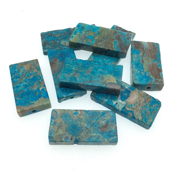 19-20mm x 30-44mm Blue Rainforest Jasper (Rhyolite) Rectangle/Block Beads - Sold Individually, Chosen at Random - Enhanced Natural Gemstone