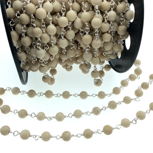Silver Plated Copper Wrapped Rosary Chain with 6mm Matte Natural Cream River Stone Round Shaped Beads - Sold by the foot! (CH310-SV)