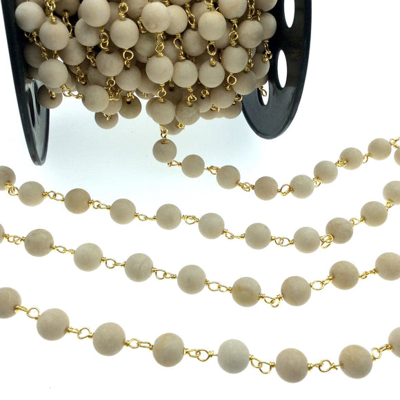 Gold Plated Copper Wrapped Rosary Chain with 8mm Matte Natural Cream River Stone Round Shaped Beads - Sold by the foot! (CH414-GD)
