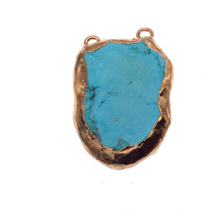 "OOAK Rose Gold Electroplated Stabilized Chinese Turquoise Freeform Shaped Two Loop Pendant ""042"" ~ 60mm x 28mm - Sold  As Pictured"