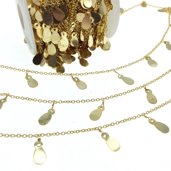 Gold Plated Brass Spaced Single Dangle Wrapped Chain with 8mm Gold Teardrop Dangles - Sold by 1 Foot Length!