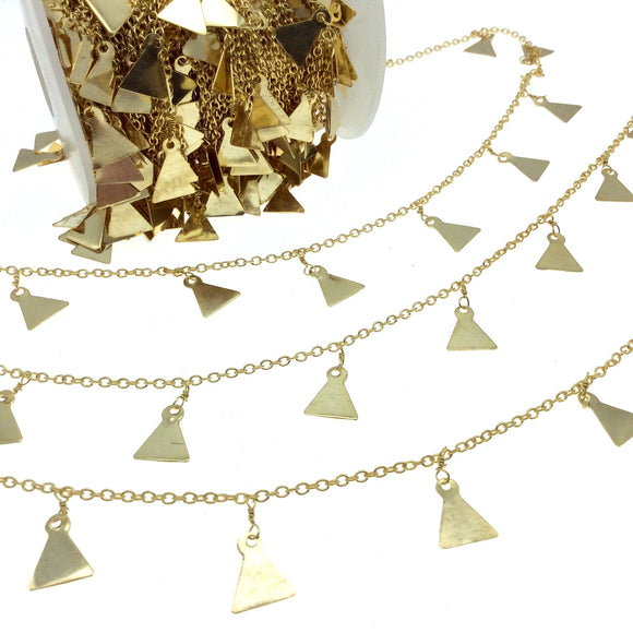 Gold Plated Brass Spaced Single Dangle Wrapped Chain with 8mm Gold Triangle Dangles - Sold by 1 Foot Length!