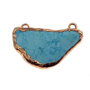 "OOAK Rose Gold Electroplated Stabilized Chinese Turquoise Freeform Shaped Two Loop Pendant ""047"" ~ 69mm x 33mm - Sold  As Pictured"