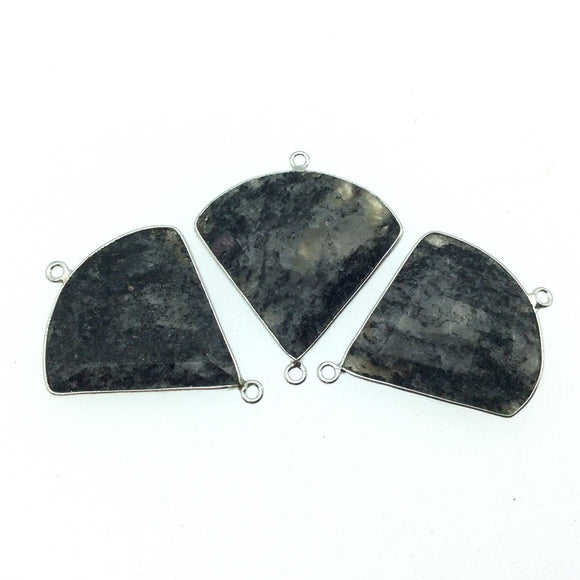 Silver Finish Faceted Black Feldspar Fan Shaped Bezel Connector Component - Measuring 30mm x 30mm - Natural Semi-precious Gemstone