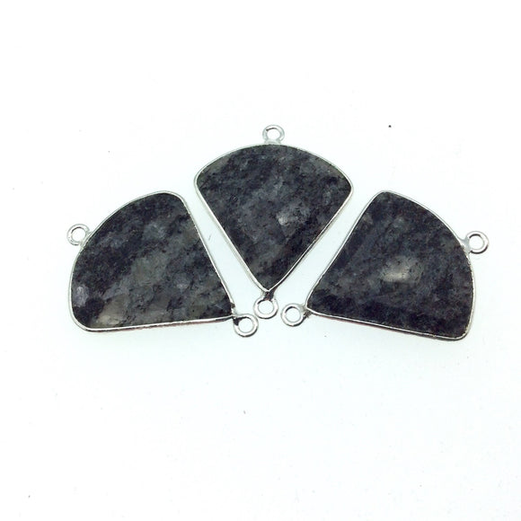 Silver Finish Faceted Black Feldspar Fan Shaped Bezel Connector Component - Measuring 22mm x 22mm - Natural Semi-precious Gemstone