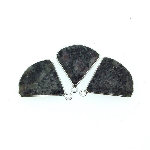 Silver Finish Faceted Black Feldspar Fan Shaped Bezel Pendant Component - Measuring 22mm x 22mm - Natural Semi-precious Gemstone