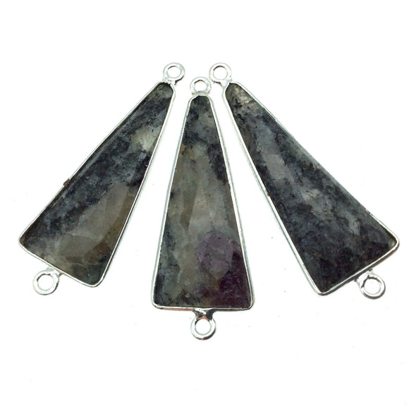 Silver Finish Faceted Black Feldspar Long Triangle Shaped Bezel Connector Component - Measuring 15mm x 35mm - Natural Semi-precious Gemstone