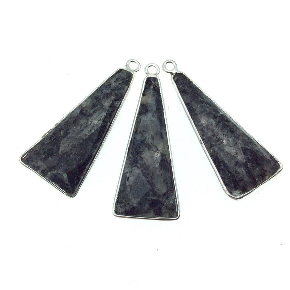 Silver Finish Faceted Black Feldspar Long Triangle Shaped Bezel Pendant Component - Measuring 12mm x 30mm - Natural Semi-precious Gemstone