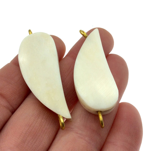 White/Ivory Curved Teardrop Shaped Natural Bone Focal Connector - 15mm x 40mm Approximately - Sold Individually
