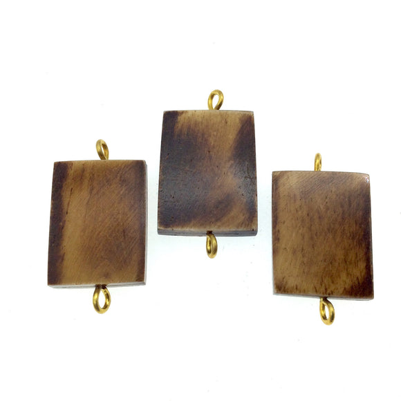 Brown Rectangle Shaped Natural Bone Focal Connector - 20mm x 36mm Approximately - Sold Individually