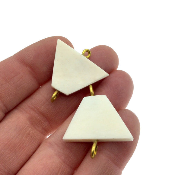 White/Ivory Flattened Triangle Shaped Natural Bone Focal Connector - 20mm x 26mm Approximately - Sold Individually