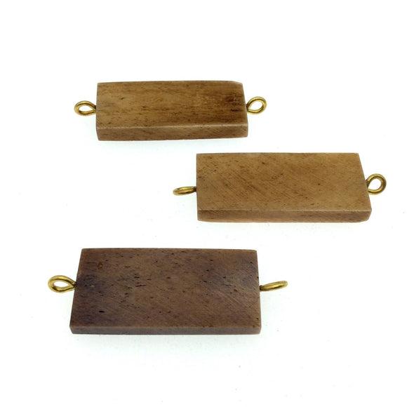 Brown Rectangle Shaped Natural Bone Focal Connector - 16mm x 38mm Approximately - Sold Individually