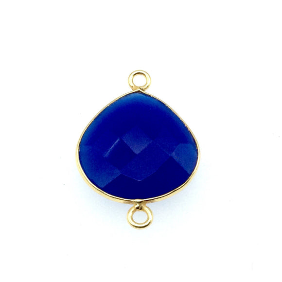 Gold Finish Faceted Cobalt Blue Heart/Teardrop Shaped Bezel Two Ring Connector Component - Measuring 18mm x 18mm - Natural Gemstone
