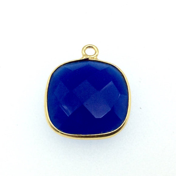 Gold Finish Faceted Cobalt Blue Chalcedony Square Shaped Bezel Pendant Component - Measuring 15mm x 15mm - Natural Gemstone