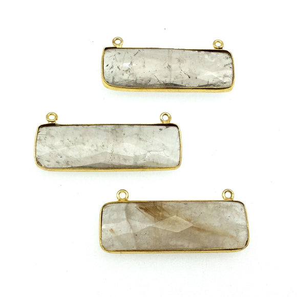 Gold Plated Faceted Gold Rutilated Quartz Rectangle/Bar Shaped Bezel Connector - ~ 12mm x 40mm - Sold Individually, Chosen Randomly