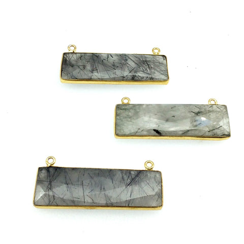 Gold Plated Faceted Black Rutilated Quartz Rectangle/Bar Shaped Bezel Connector - ~ 12mm x 40mm - Sold Individually, Chosen Randomly