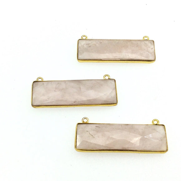 Gold Plated Faceted Rose Quartz Rectangle/Bar Shaped Bezel Connector - ~ 12mm x 40mm - Sold Individually, Chosen Randomly